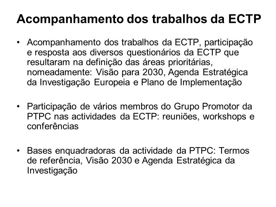 Acompanhamento dos trabalhos da ECTP Acompanhamento dos trabalhos da ECTP, participação e resposta aos diversos questionários da ECTP que resultaram na definição das áreas prioritárias, nomeadamente: Visão para 2030, Agenda Estratégica da Investigação Europeia e Plano de Implementação Participação de vários membros do Grupo Promotor da PTPC nas actividades da ECTP: reuniões, workshops e conferências Bases enquadradoras da actividade da PTPC: Termos de referência, Visão 2030 e Agenda Estratégica da Investigação