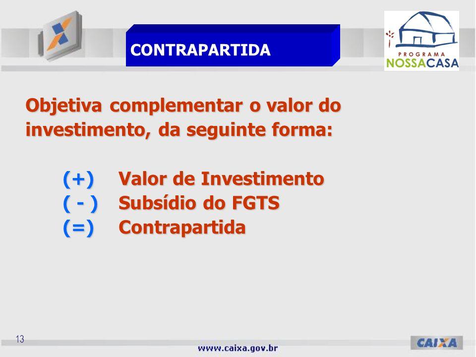 12 Contrapartida Aporte de recursos próprios efetuados pela Entidade Organizadora, necessários à composição do valor do investimento do projeto, sob a forma de recursos financeiros e/ou bens e serviços mensuráveis.