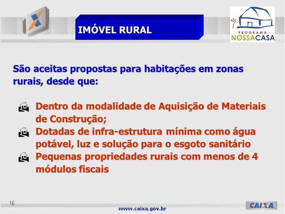 15 São aceitos os seguintes terrenos: De propriedade do beneficiário; De propriedade do beneficiário; De propriedade do Setor Público; De propriedade
