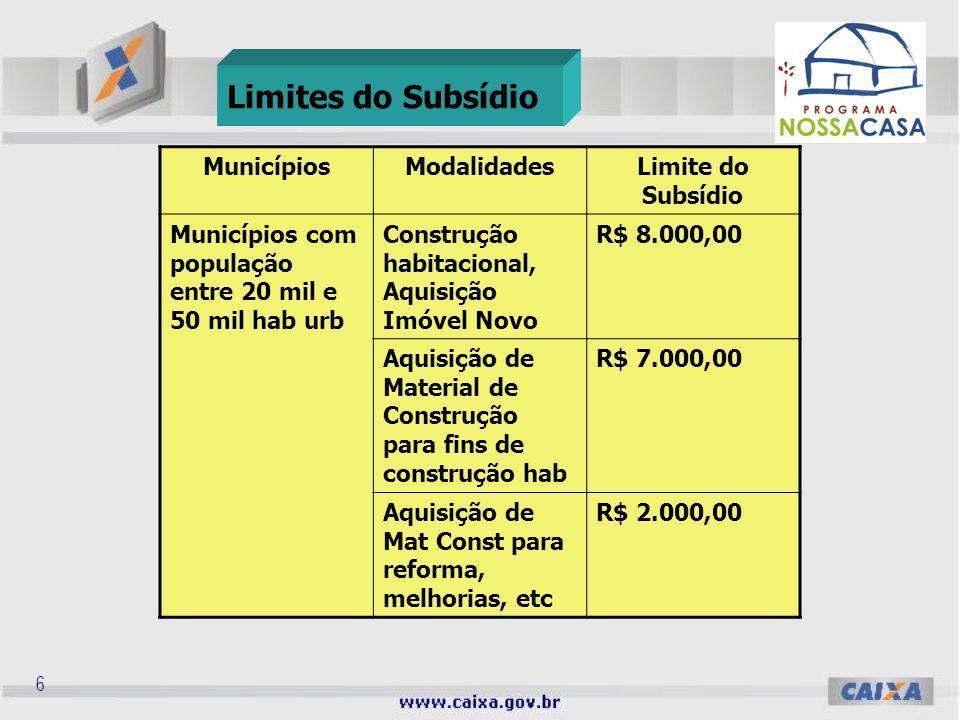 5 MunicípiosModalidadesLimite do Subsídio Municípios com população entre 50 mil e 100 mil hab urb Construção habitacional, Aquisição Imóvel Novo R$ 9.