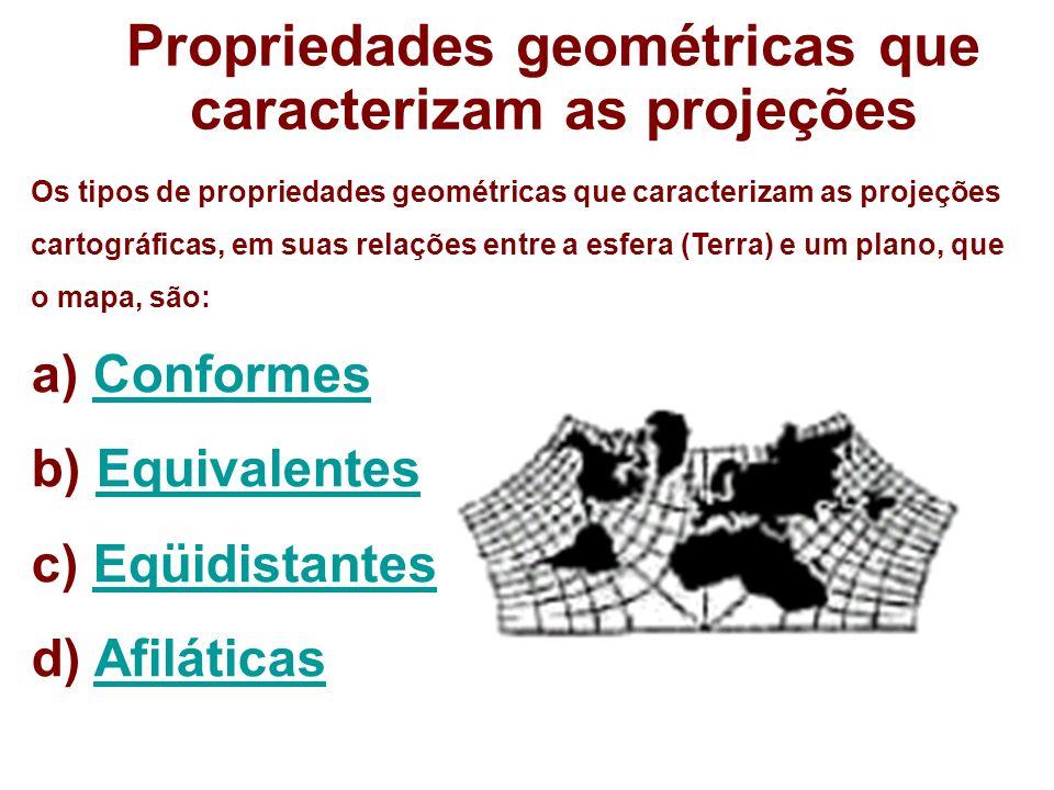 Propriedades geométricas que caracterizam as projeções Os tipos de propriedades geométricas que caracterizam as projeções cartográficas, em suas relaç