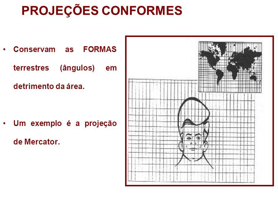PROJEÇÕES CONFORMES Conservam as FORMAS terrestres (ângulos) em detrimento da área. Um exemplo é a projeção de Mercator.