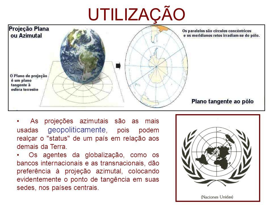 UTILIZAÇÃO As projeções azimutais são as mais usadas geopoliticamente, pois podem realçar o