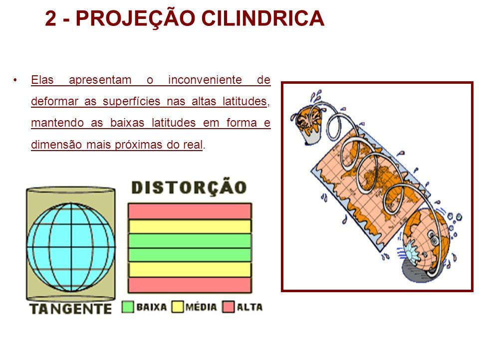 2 - PROJEÇÃO CILINDRICA Elas apresentam o inconveniente de deformar as superfícies nas altas latitudes, mantendo as baixas latitudes em forma e dimens