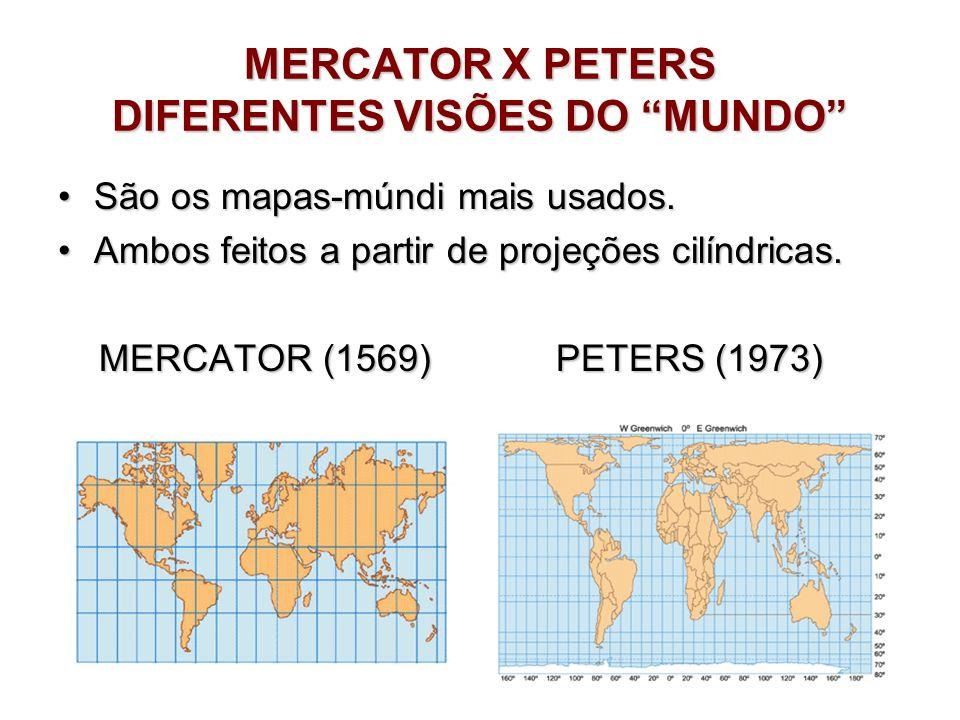 MERCATOR X PETERS DIFERENTES VISÕES DO MUNDO São os mapas-múndi mais usados.São os mapas-múndi mais usados. Ambos feitos a partir de projeções cilíndr
