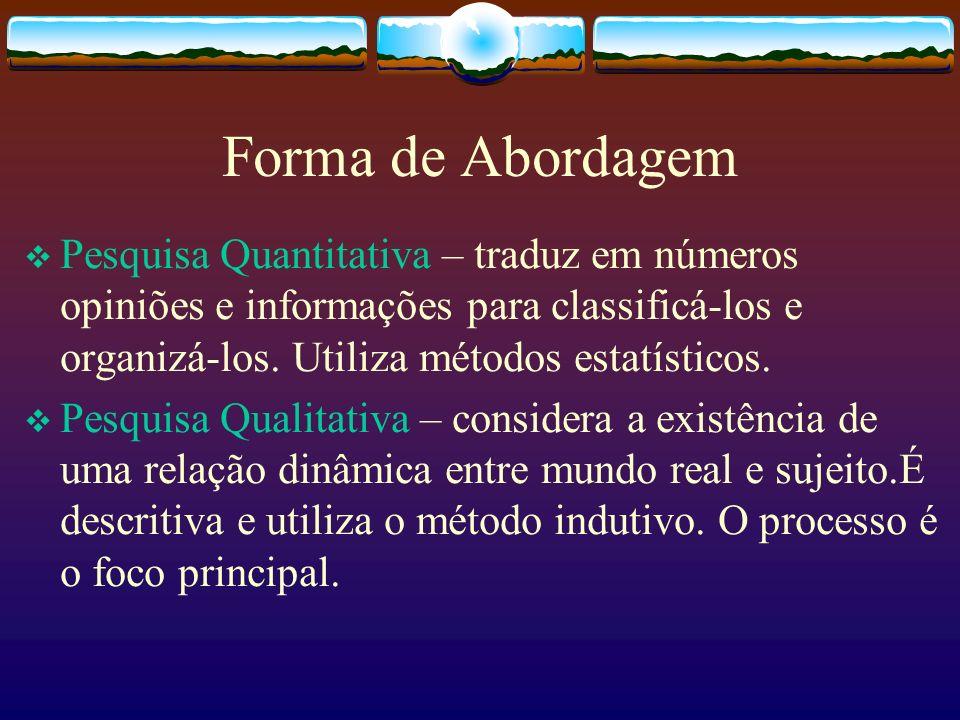 Forma de Abordagem Pesquisa Quantitativa – traduz em números opiniões e informações para classificá-los e organizá-los. Utiliza métodos estatísticos.