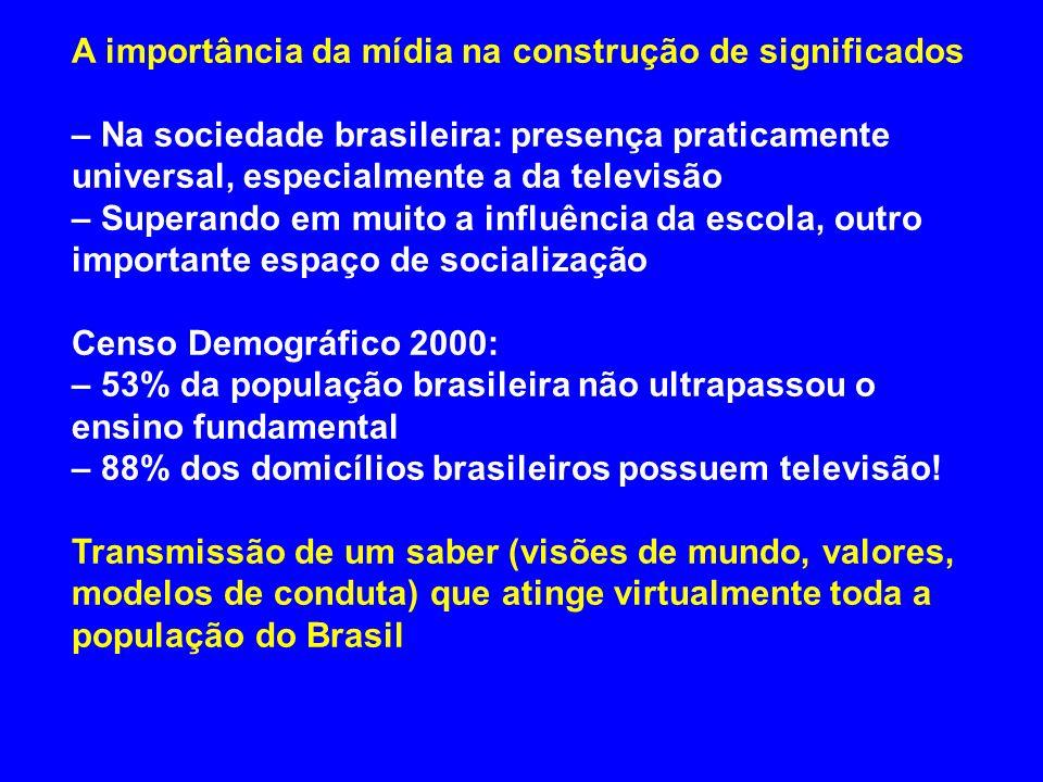 A importância da mídia na construção de significados – Na sociedade brasileira: presença praticamente universal, especialmente a da televisão – Supera