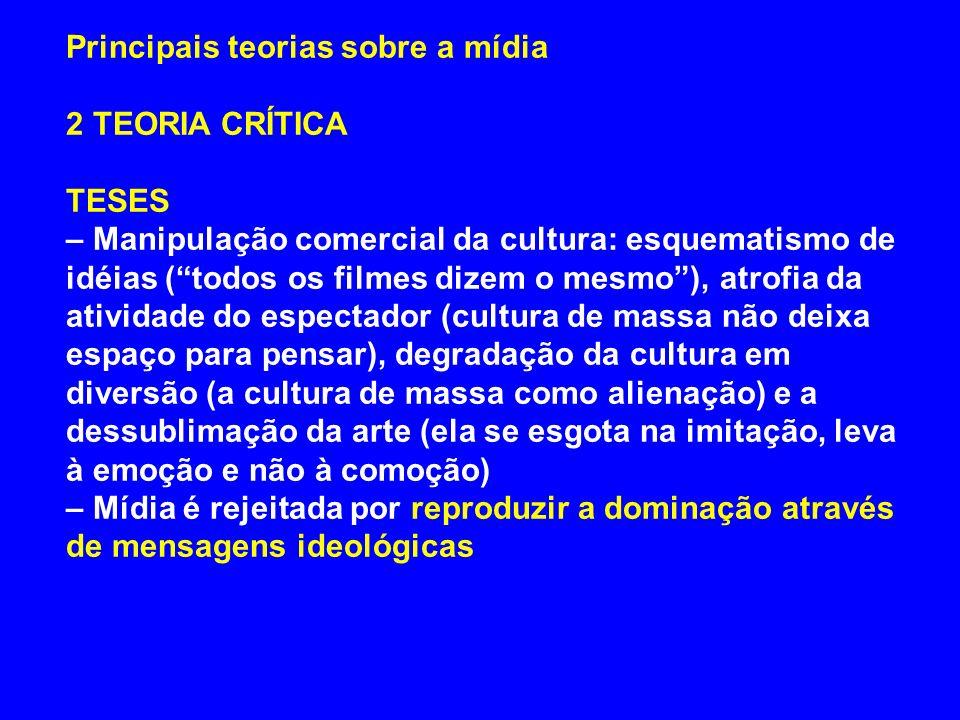 Principais teorias sobre a mídia 2 TEORIA CRÍTICA TESES – Manipulação comercial da cultura: esquematismo de idéias (todos os filmes dizem o mesmo), at