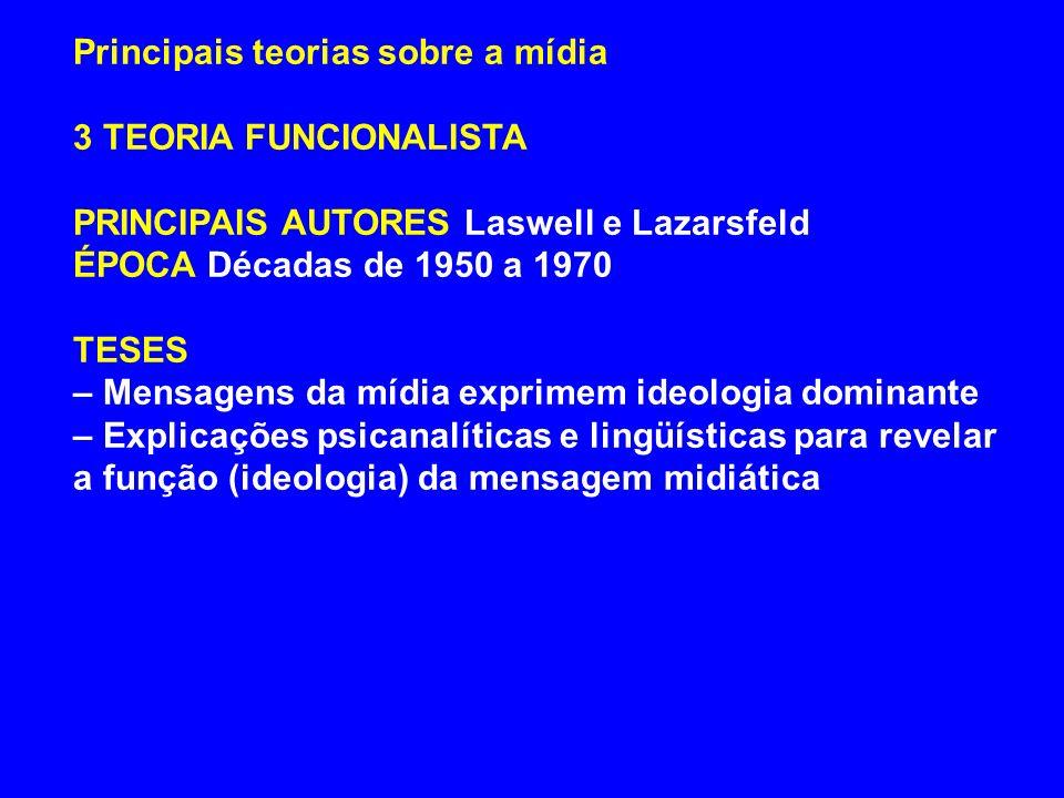 Principais teorias sobre a mídia 3 TEORIA FUNCIONALISTA PRINCIPAIS AUTORES Laswell e Lazarsfeld ÉPOCA Décadas de 1950 a 1970 TESES – Mensagens da mídi