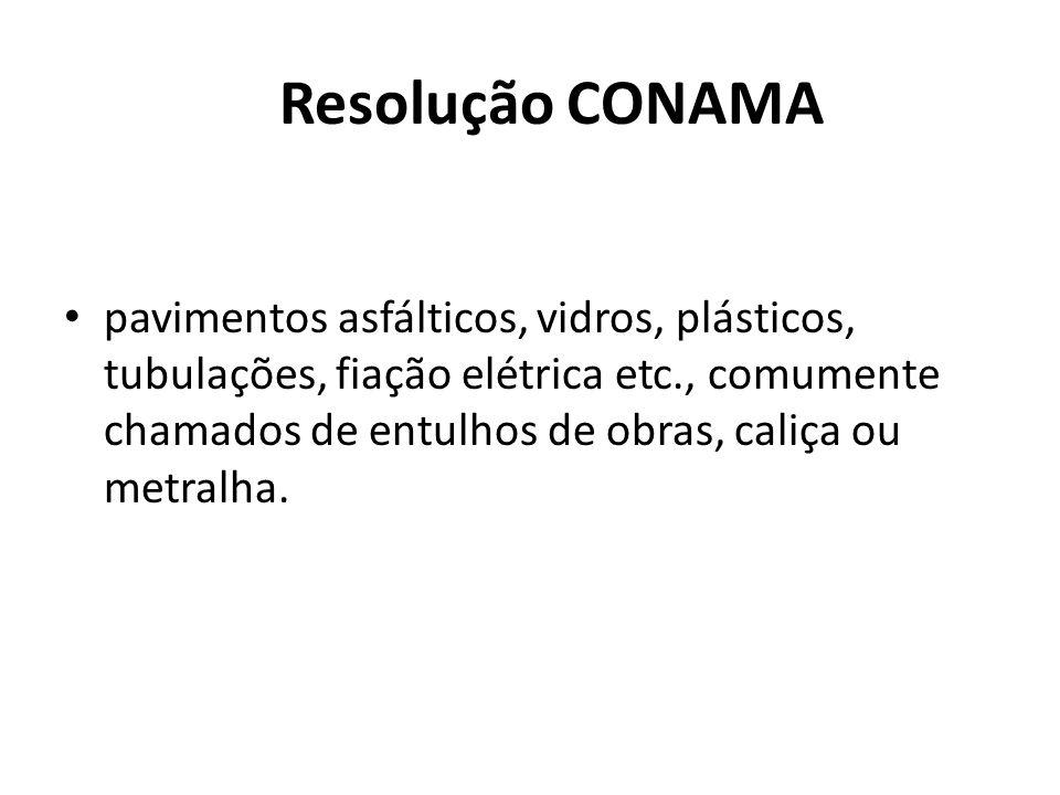Resolução CONAMA pavimentos asfálticos, vidros, plásticos, tubulações, fiação elétrica etc., comumente chamados de entulhos de obras, caliça ou metral
