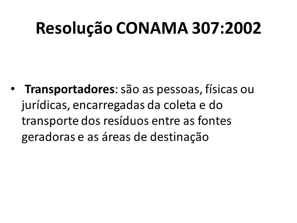 Resolução CONAMA 307:2002 Transportadores: são as pessoas, físicas ou jurídicas, encarregadas da coleta e do transporte dos resíduos entre as fontes g