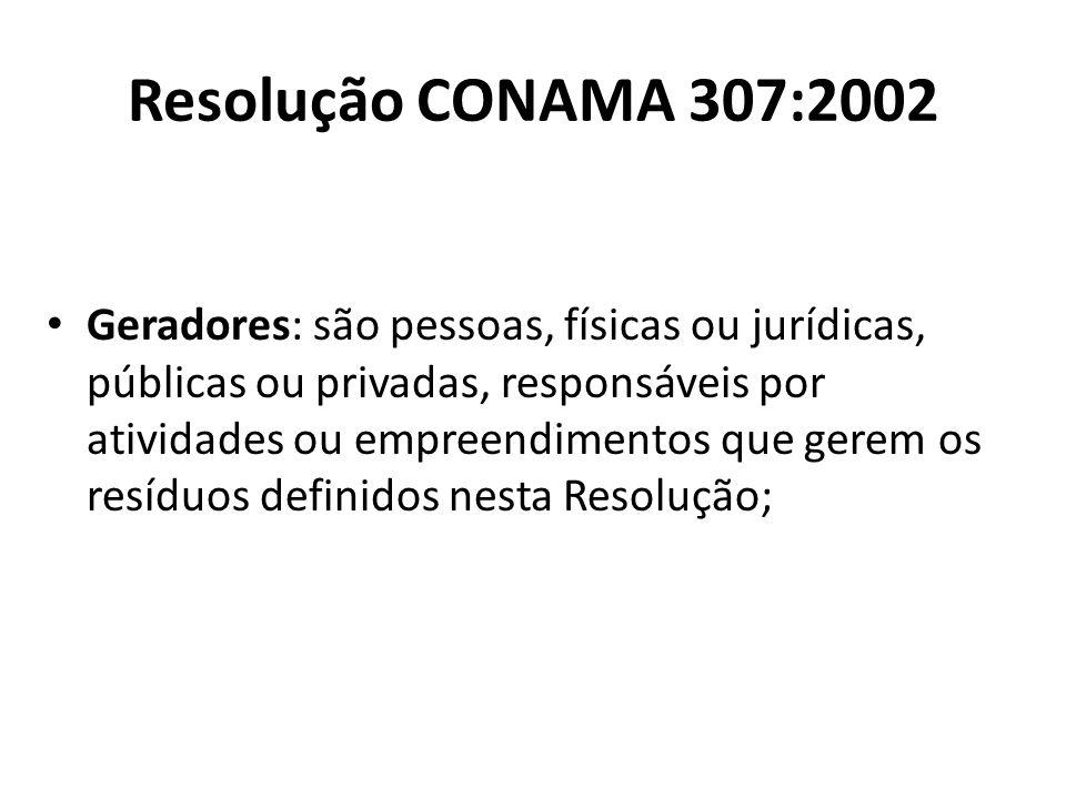 Resolução CONAMA 307:2002 Geradores: são pessoas, físicas ou jurídicas, públicas ou privadas, responsáveis por atividades ou empreendimentos que gerem