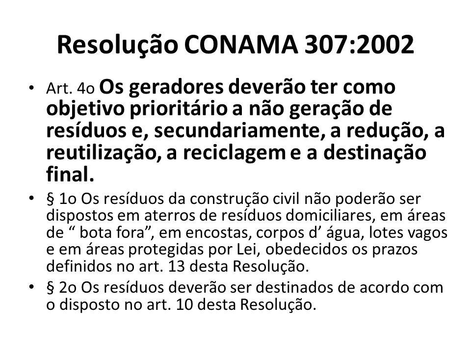 Resolução CONAMA 307:2002 Art. 4o Os geradores deverão ter como objetivo prioritário a não geração de resíduos e, secundariamente, a redução, a reutil