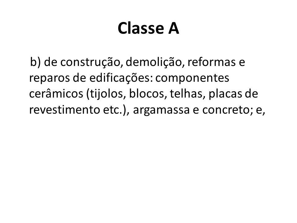 Classe A b) de construção, demolição, reformas e reparos de edificações: componentes cerâmicos (tijolos, blocos, telhas, placas de revestimento etc.),