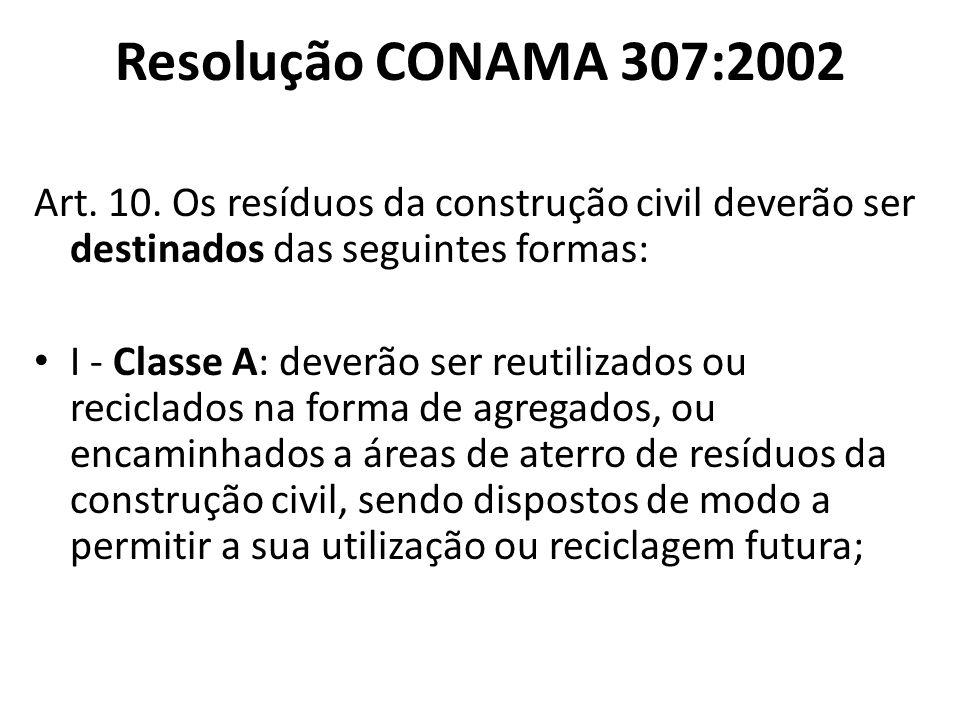 Resolução CONAMA 307:2002 Art. 10. Os resíduos da construção civil deverão ser destinados das seguintes formas: I - Classe A: deverão ser reutilizados