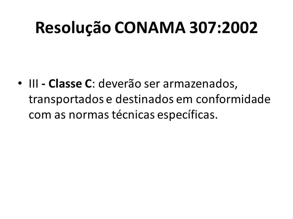 Resolução CONAMA 307:2002 III - Classe C: deverão ser armazenados, transportados e destinados em conformidade com as normas técnicas específicas.