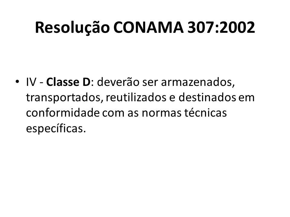 Resolução CONAMA 307:2002 IV - Classe D: deverão ser armazenados, transportados, reutilizados e destinados em conformidade com as normas técnicas espe