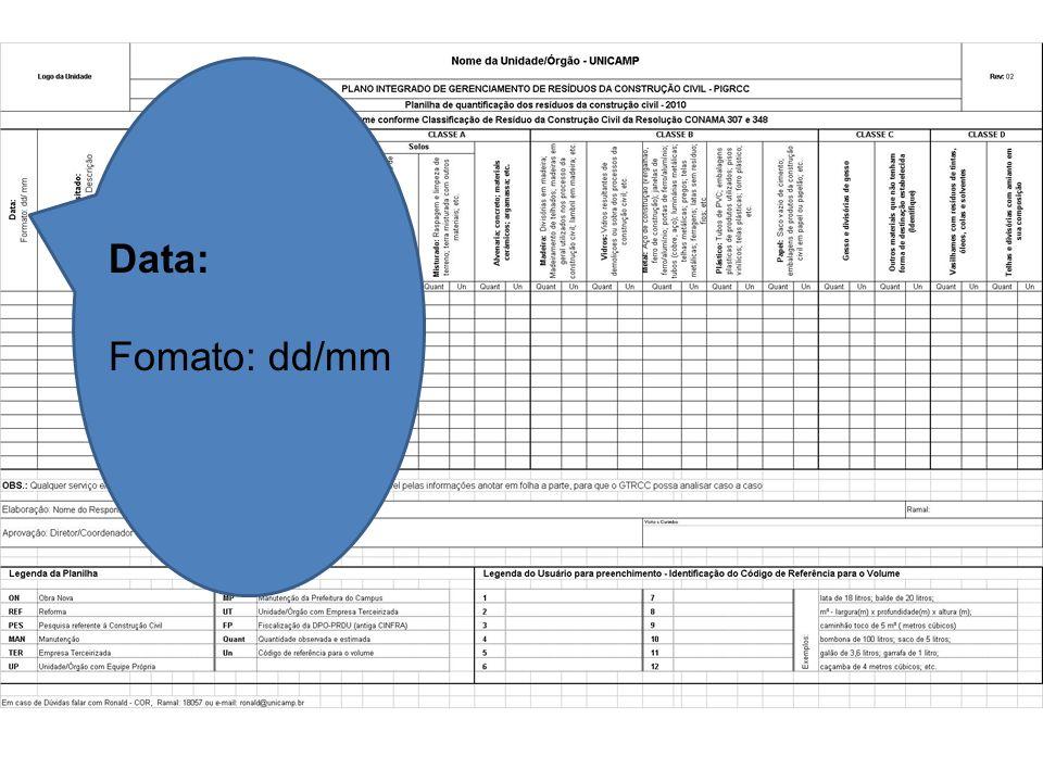 Data: Fomato: dd/mm