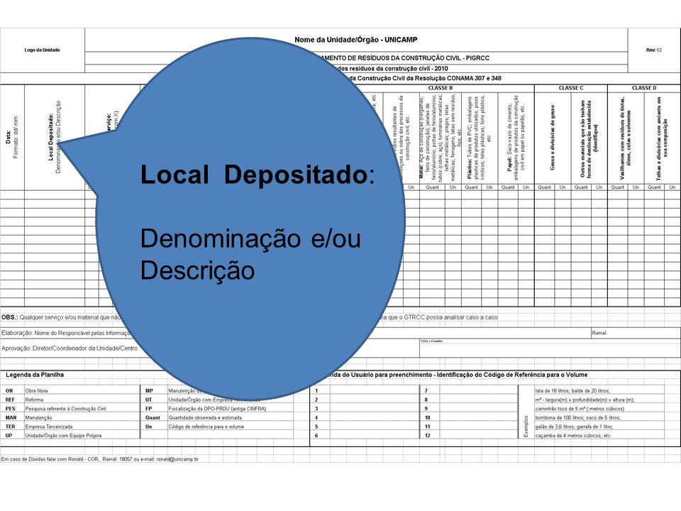 Local Depositado: Denominação e/ou Descrição