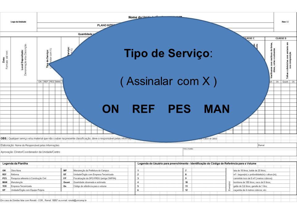 Tipo de Serviço: ( Assinalar com X ) ON REF PES MAN