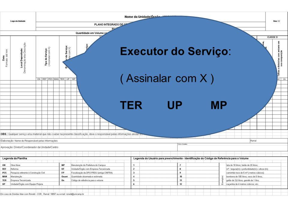 Executor do Serviço: ( Assinalar com X ) TER UP MP
