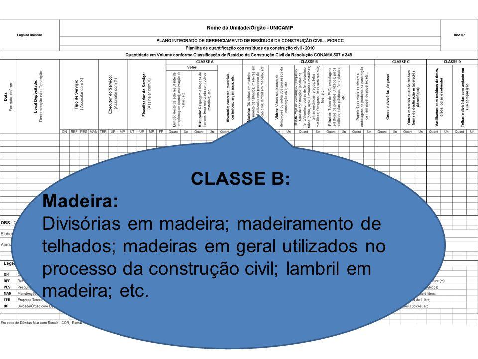 CLASSE B: Madeira: Divisórias em madeira; madeiramento de telhados; madeiras em geral utilizados no processo da construção civil; lambril em madeira;