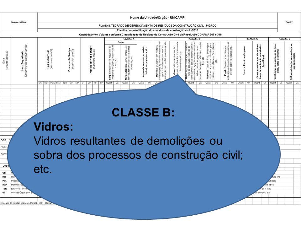 CLASSE B: Vidros: Vidros resultantes de demolições ou sobra dos processos de construção civil; etc.
