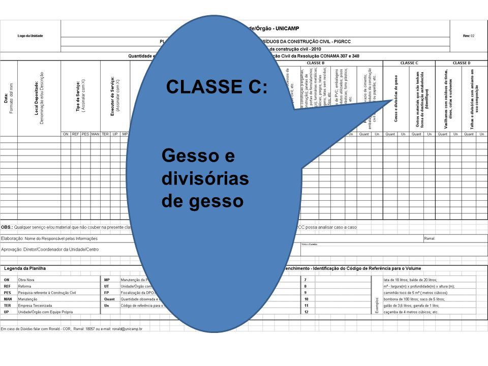 CLASSE C: Gesso e divisórias de gesso