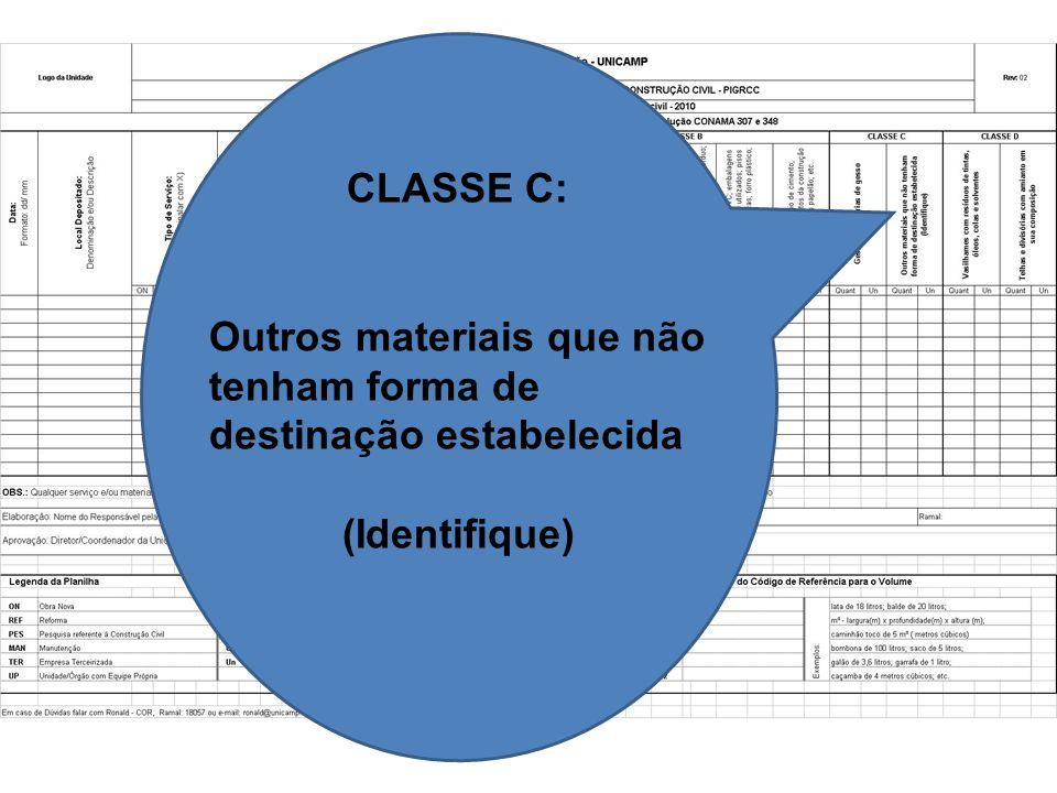 CLASSE C: Outros materiais que não tenham forma de destinação estabelecida (Identifique)