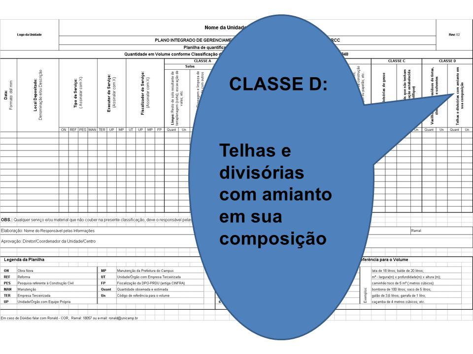 CLASSE D: Telhas e divisórias com amianto em sua composição