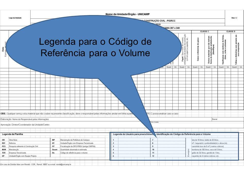 Legenda para o Código de Referência para o Volume