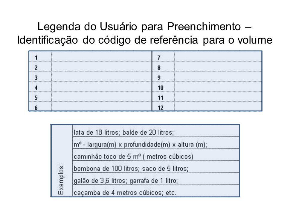 Legenda do Usuário para Preenchimento – Identificação do código de referência para o volume
