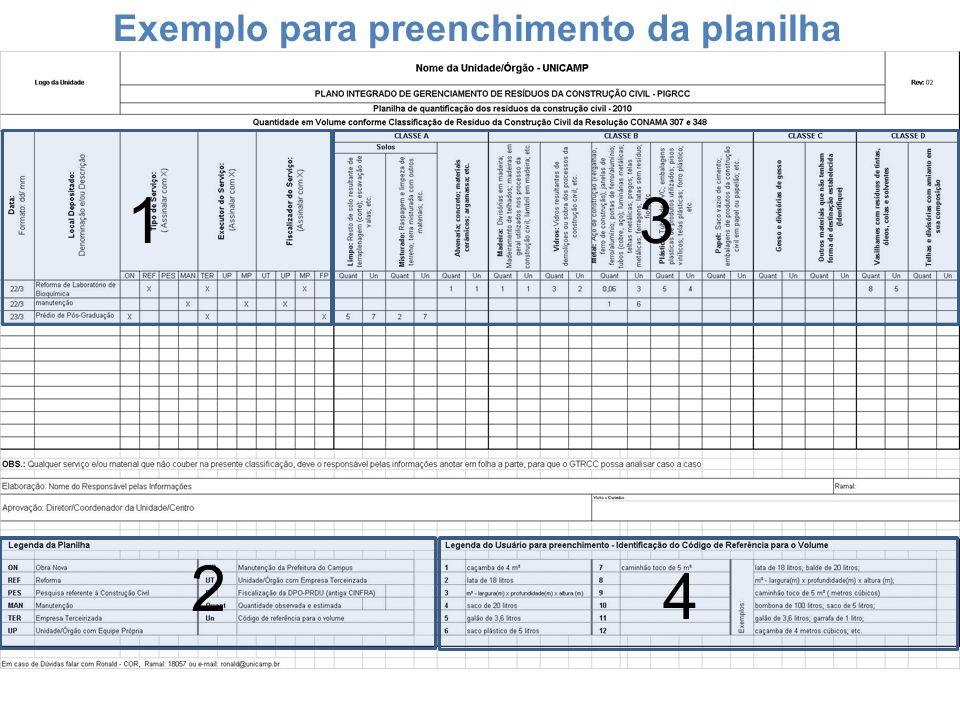 Exemplo para preenchimento da planilha 13 4 2