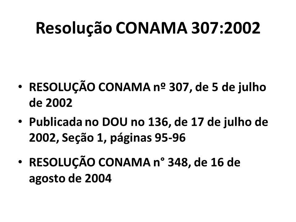 Resolução CONAMA 307:2002 RESOLUÇÃO CONAMA nº 307, de 5 de julho de 2002 Publicada no DOU no 136, de 17 de julho de 2002, Seção 1, páginas 95-96 RESOL