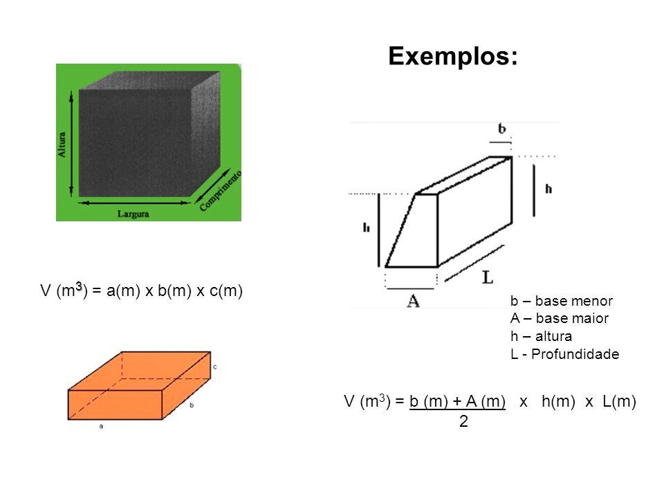3 V (m 3 ) = a(m) x b(m) x c(m) V (m 3 ) = b (m) + A (m) x h(m) x L(m) 2 Exemplos: b – base menor A – base maior h – altura L - Profundidade
