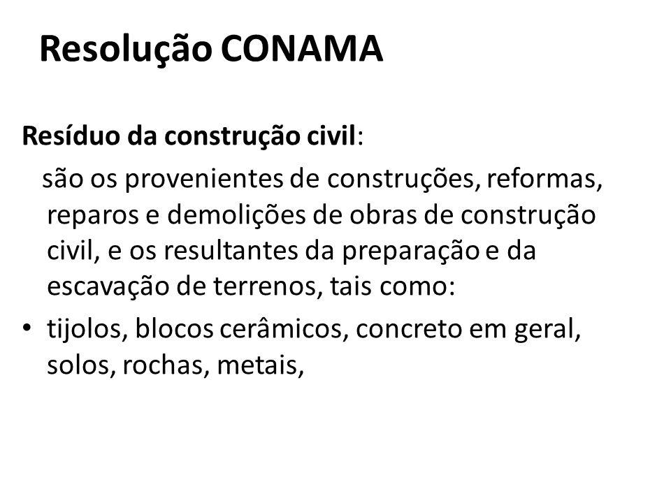 Resolução CONAMA Resíduo da construção civil: são os provenientes de construções, reformas, reparos e demolições de obras de construção civil, e os re