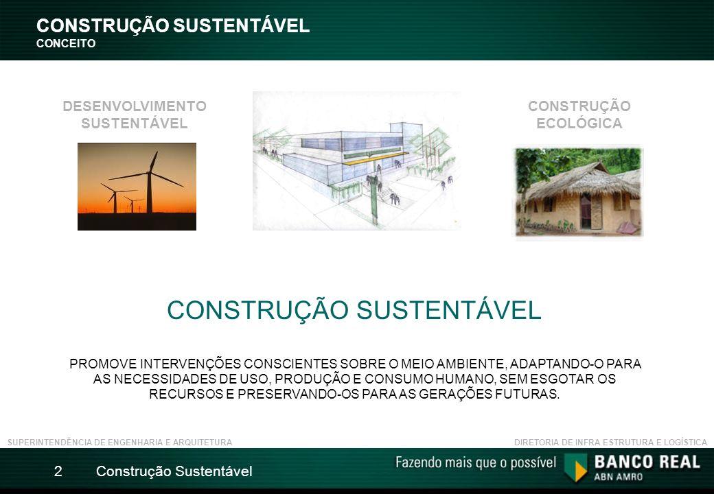 Construção Sustentável2 CONSTRUÇÃO SUSTENTÁVEL CONCEITO CONSTRUÇÃO SUSTENTÁVEL PROMOVE INTERVENÇÕES CONSCIENTES SOBRE O MEIO AMBIENTE, ADAPTANDO-O PARA AS NECESSIDADES DE USO, PRODUÇÃO E CONSUMO HUMANO, SEM ESGOTAR OS RECURSOS E PRESERVANDO-OS PARA AS GERAÇÕES FUTURAS.