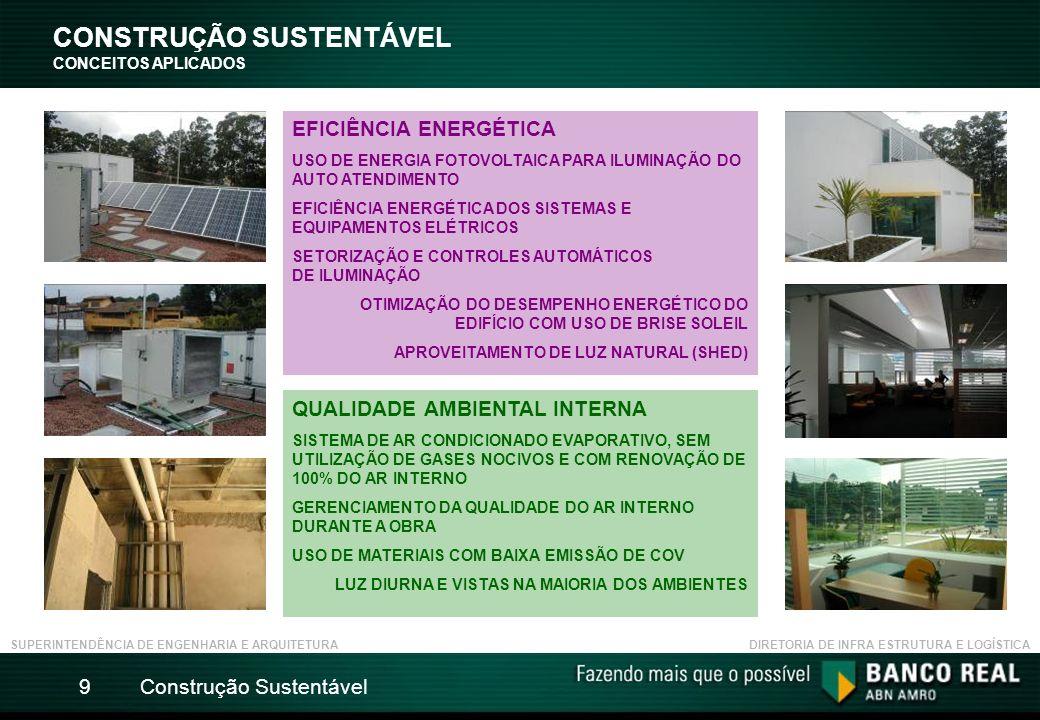 Construção Sustentável9 CONSTRUÇÃO SUSTENTÁVEL CONCEITOS APLICADOS SUPERINTENDÊNCIA DE ENGENHARIA E ARQUITETURADIRETORIA DE INFRA ESTRUTURA E LOGÍSTICA EFICIÊNCIA ENERGÉTICA USO DE ENERGIA FOTOVOLTAICA PARA ILUMINAÇÃO DO AUTO ATENDIMENTO EFICIÊNCIA ENERGÉTICA DOS SISTEMAS E EQUIPAMENTOS ELÉTRICOS SETORIZAÇÃO E CONTROLES AUTOMÁTICOS DE ILUMINAÇÃO OTIMIZAÇÃO DO DESEMPENHO ENERGÉTICO DO EDIFÍCIO COM USO DE BRISE SOLEIL APROVEITAMENTO DE LUZ NATURAL (SHED) QUALIDADE AMBIENTAL INTERNA SISTEMA DE AR CONDICIONADO EVAPORATIVO, SEM UTILIZAÇÃO DE GASES NOCIVOS E COM RENOVAÇÃO DE 100% DO AR INTERNO GERENCIAMENTO DA QUALIDADE DO AR INTERNO DURANTE A OBRA USO DE MATERIAIS COM BAIXA EMISSÃO DE COV LUZ DIURNA E VISTAS NA MAIORIA DOS AMBIENTES