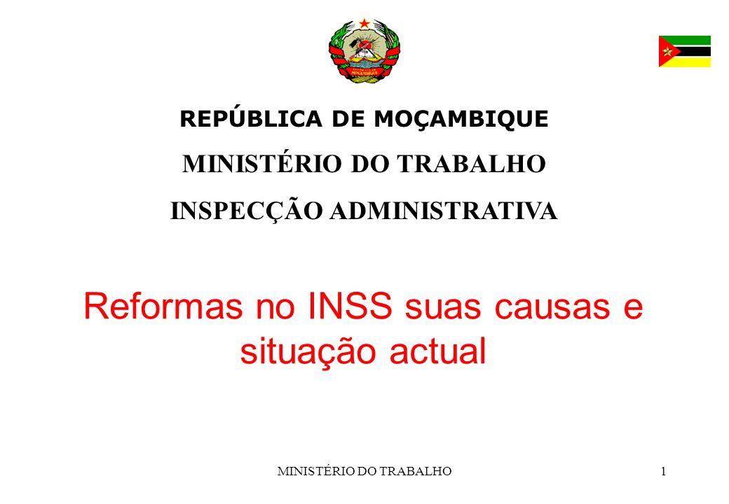 MINISTÉRIO DO TRABALHO1 REPÚBLICA DE MOÇAMBIQUE MINISTÉRIO DO TRABALHO INSPECÇÃO ADMINISTRATIVA Reformas no INSS suas causas e situação actual