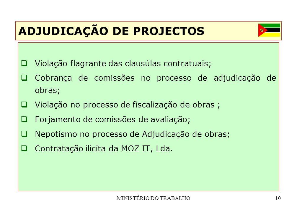 MINISTÉRIO DO TRABALHO10 Violação flagrante das clausúlas contratuais; Cobrança de comissões no processo de adjudicação de obras; Violação no processo