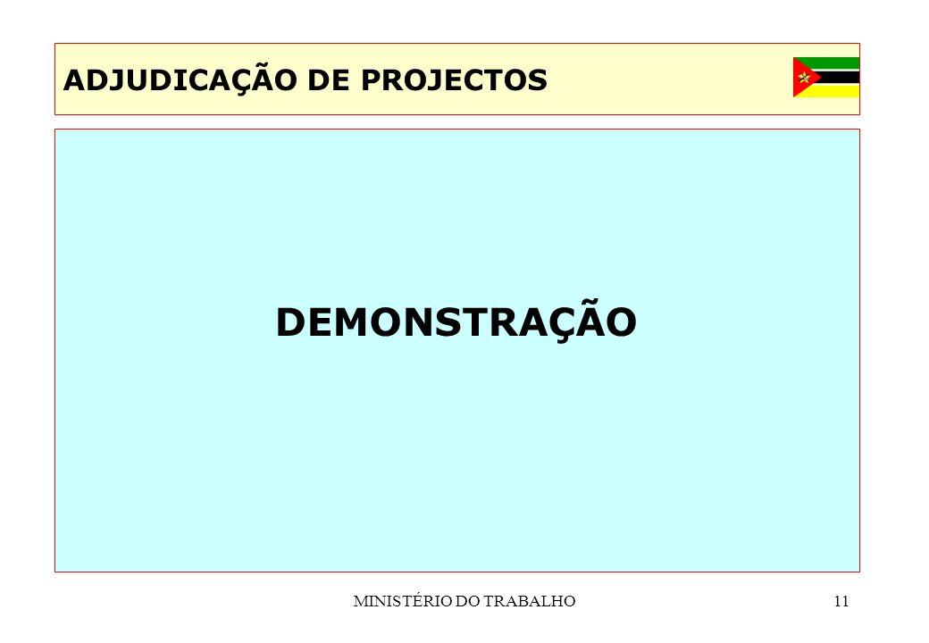 MINISTÉRIO DO TRABALHO11 DEMONSTRAÇÃO ADJUDICAÇÃO DE PROJECTOS