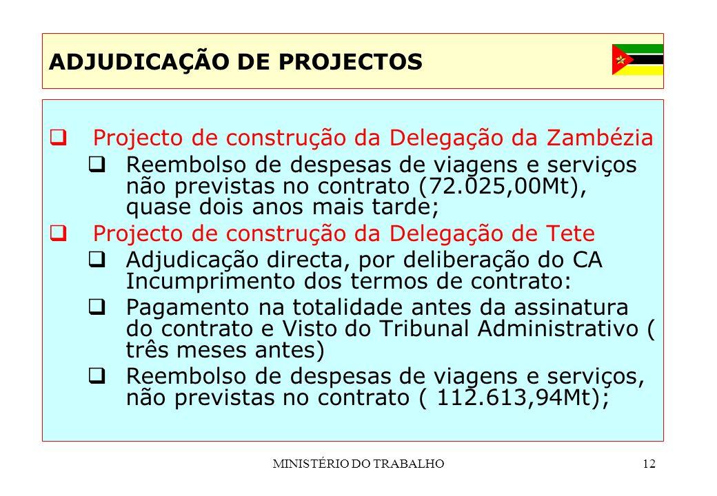 MINISTÉRIO DO TRABALHO12 Projecto de construção da Delegação da Zambézia Reembolso de despesas de viagens e serviços não previstas no contrato (72.025