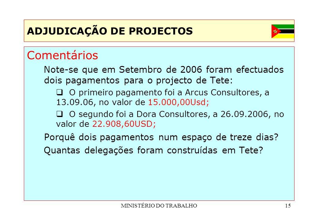 MINISTÉRIO DO TRABALHO15 ADJUDICAÇÃO DE PROJECTOS Comentários Note-se que em Setembro de 2006 foram efectuados dois pagamentos para o projecto de Tete
