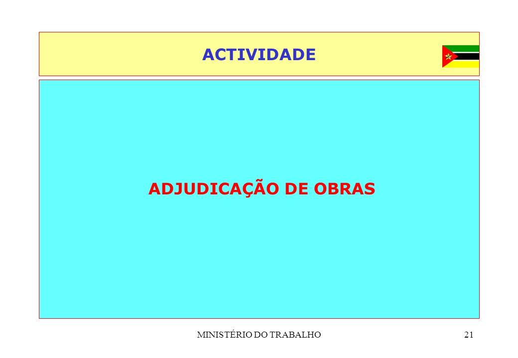 MINISTÉRIO DO TRABALHO21 ACTIVIDADE ADJUDICAÇÃO DE OBRAS