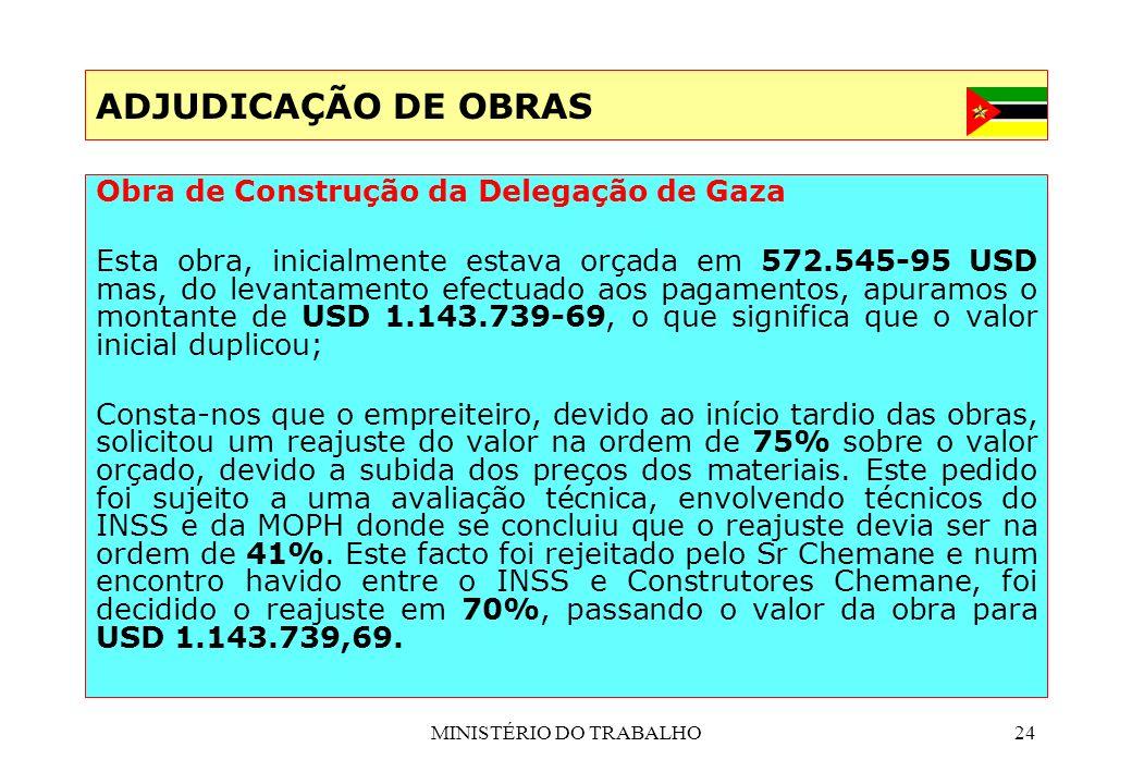 MINISTÉRIO DO TRABALHO24 ADJUDICAÇÃO DE OBRAS Obra de Construção da Delegação de Gaza Esta obra, inicialmente estava orçada em 572.545-95 USD mas, do