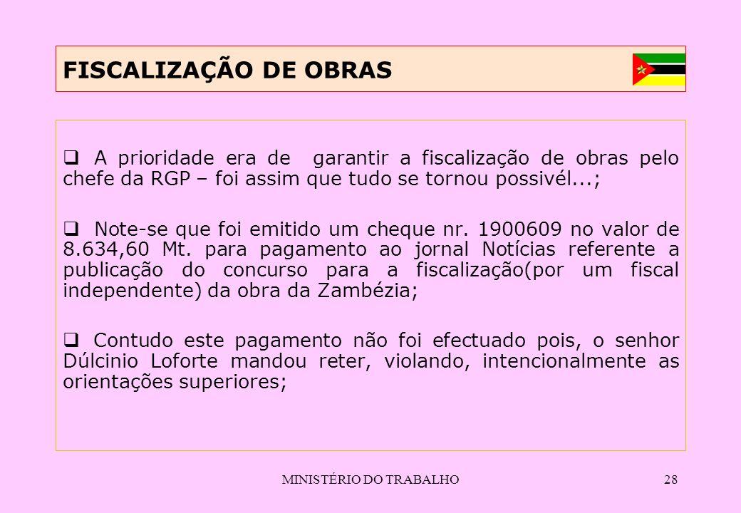 MINISTÉRIO DO TRABALHO28 FISCALIZAÇÃO DE OBRAS A prioridade era de garantir a fiscalização de obras pelo chefe da RGP – foi assim que tudo se tornou p