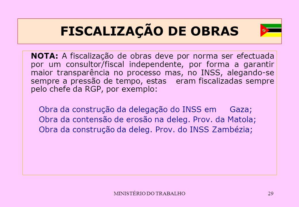 MINISTÉRIO DO TRABALHO29 FISCALIZAÇÃO DE OBRAS NOTA: A fiscalização de obras deve por norma ser efectuada por um consultor/fiscal independente, por fo