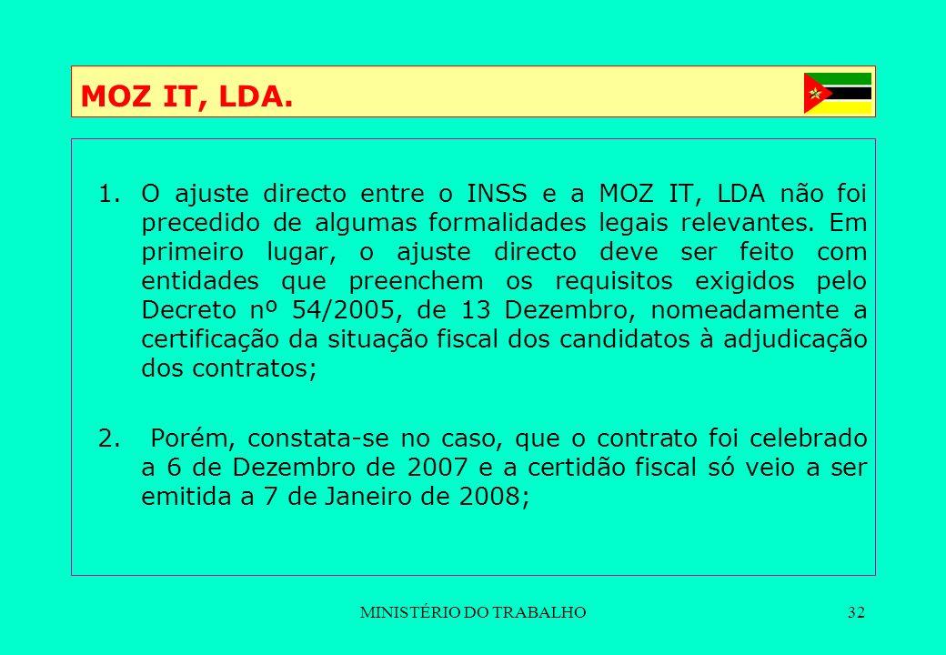 MINISTÉRIO DO TRABALHO32 MOZ IT, LDA. 1.O ajuste directo entre o INSS e a MOZ IT, LDA não foi precedido de algumas formalidades legais relevantes. Em