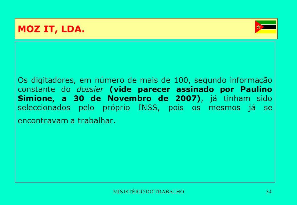 MINISTÉRIO DO TRABALHO34 MOZ IT, LDA. Os digitadores, em número de mais de 100, segundo informação constante do dossier (vide parecer assinado por Pau