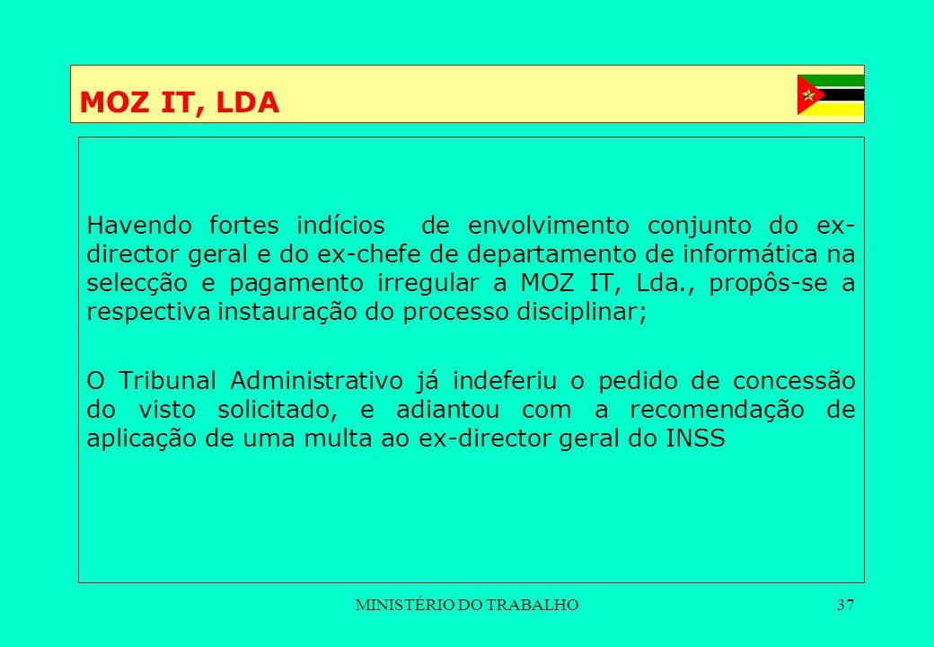 MINISTÉRIO DO TRABALHO37 MOZ IT, LDA Havendo fortes indícios de envolvimento conjunto do ex- director geral e do ex-chefe de departamento de informáti
